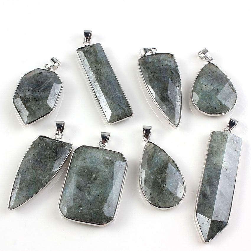Kraft-pärlor Special Design Silverpläterade avsnitt Gemstone Stone Labradorite Hängsmycke Halsband Charm Smycken