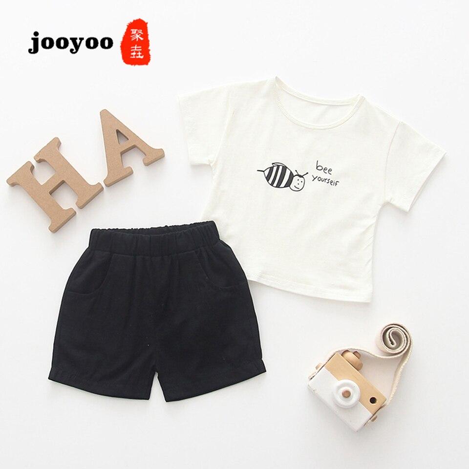 Baby Clothes Summer Girl 2pcs Short+Pants Cartoon Bee Cotton Boy Newborn jooyoo