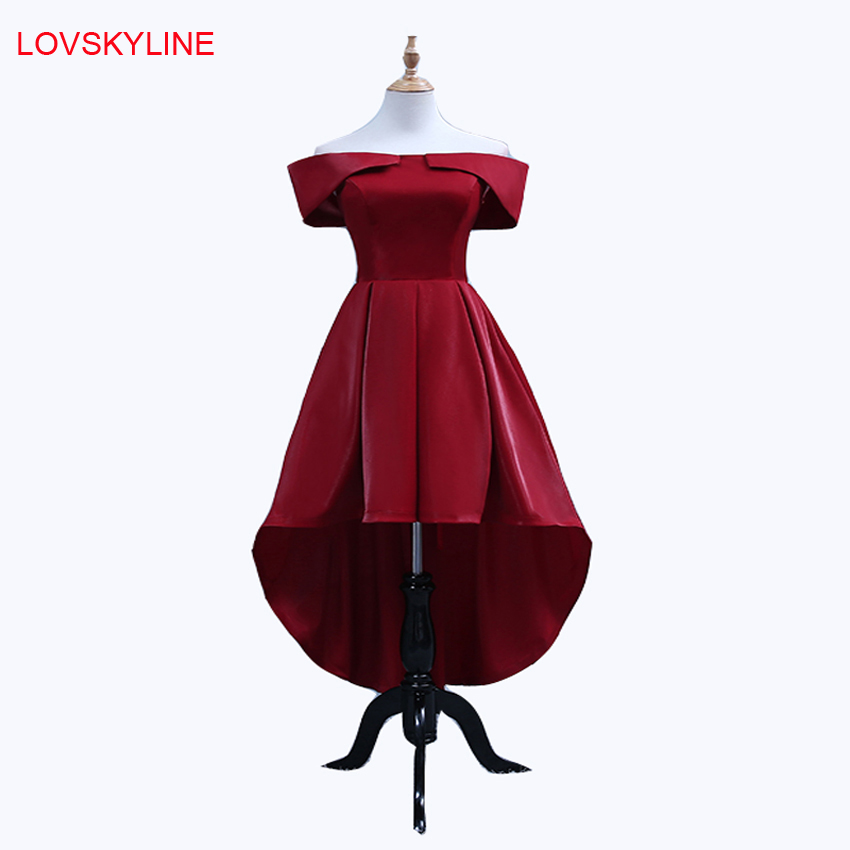 Bridesmaid     Dresses   2018 New Satin Boat Neck Front Short Back Long Embroidery Red Cap Sleeves