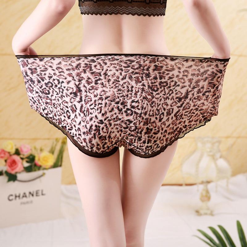 Хипстерские леопардовые женские трусики, сексуальные кружевные трусики большого размера s с высокой талией и оборками, молочное шелковое б...