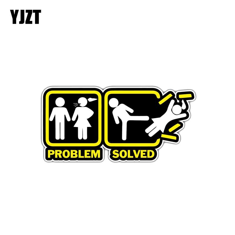 YJZT 12.9CM*6.1CM Funny Annoying Wife Girlfriend  Problem Solved Car Sticker Decal PVC 12-1361