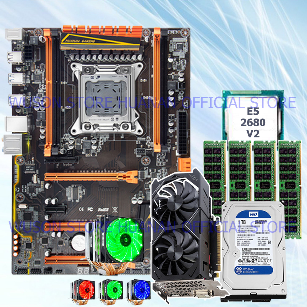 !!HUANAN deluxe X79 mainboard CPU E5 2680 V2 with 6 heatpipes cooler RAM 32G(4*8G) DDR3 RECC 1TB 3.5' SATA HDD GTX1050Ti 4GD5 VC термосумка thermos e5 24 can cooler 19л [555618] лайм