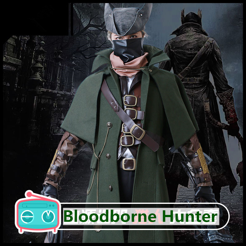 Anime! Bloodborne Hunter Combat Suit Uniform Cosplay Costume Stage Performance Outfit Halloween Carnival Full Set Free Shipping