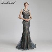 Халат De Soiree Новое поступление пикантные Русалка Формальное вечернее платье длиной до пола Тюль, расшитый кристаллами и бисером реальные фо