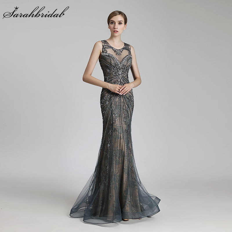 Robe De Soiree New Arrival Sexy Mermaid Formal   Evening     Dress   Floor Length Crystal Beaded Tulle Real Photos LSX429