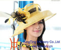 Free Shipping Elegant Natural Feather Women Hat Fashion Sinamay Hat Wide Brim Big Flower Hat Two Tone With Feather Decoration