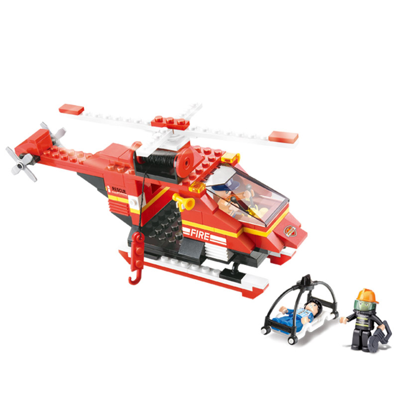 0218 155pcs Fire Rescue Helicopter Constructor Model Kit Blocks Compatible LEGO Bricks Toys For Boys Girls Children Modeling