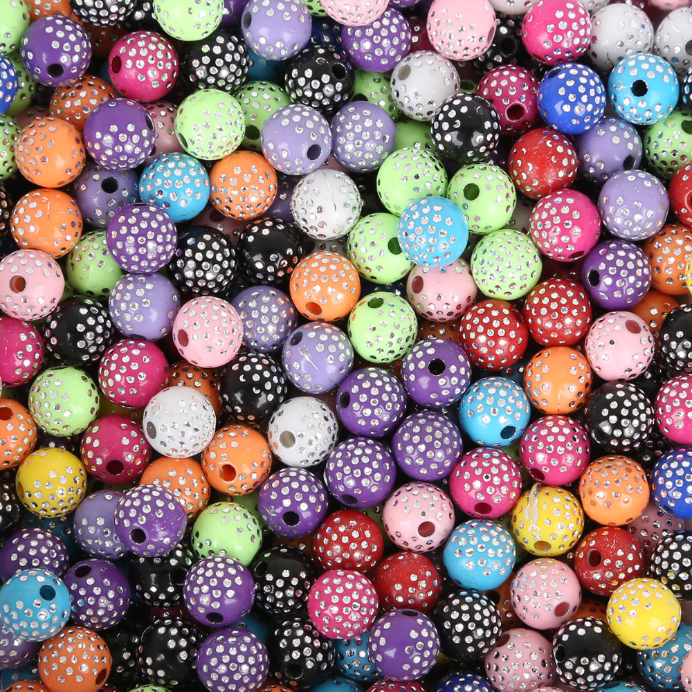 100 шт./лот 8 мм сверкающие акриловые бусины Свободные бусины для самостоятельного изготовления ювелирных изделий браслет ожерелье аксессуары