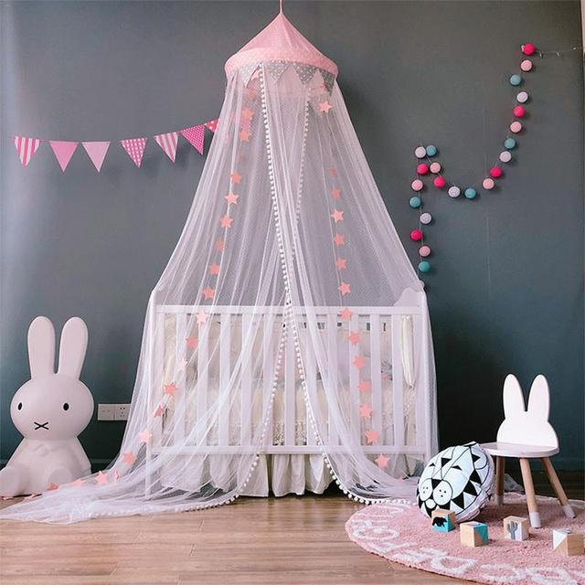 Baby Princess Nets Hanging Round Lace Canopy Baby Bed Netting Comfy Infant Crib Netting for Crib Full Queen Bed Baby Sleep S3