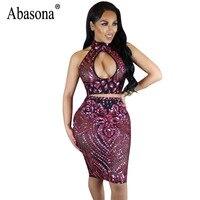 Abasona Women Sequins Dress Summer Sleeveless Halter Cut Out Dress Sexy Club Wear Black Red Mesh