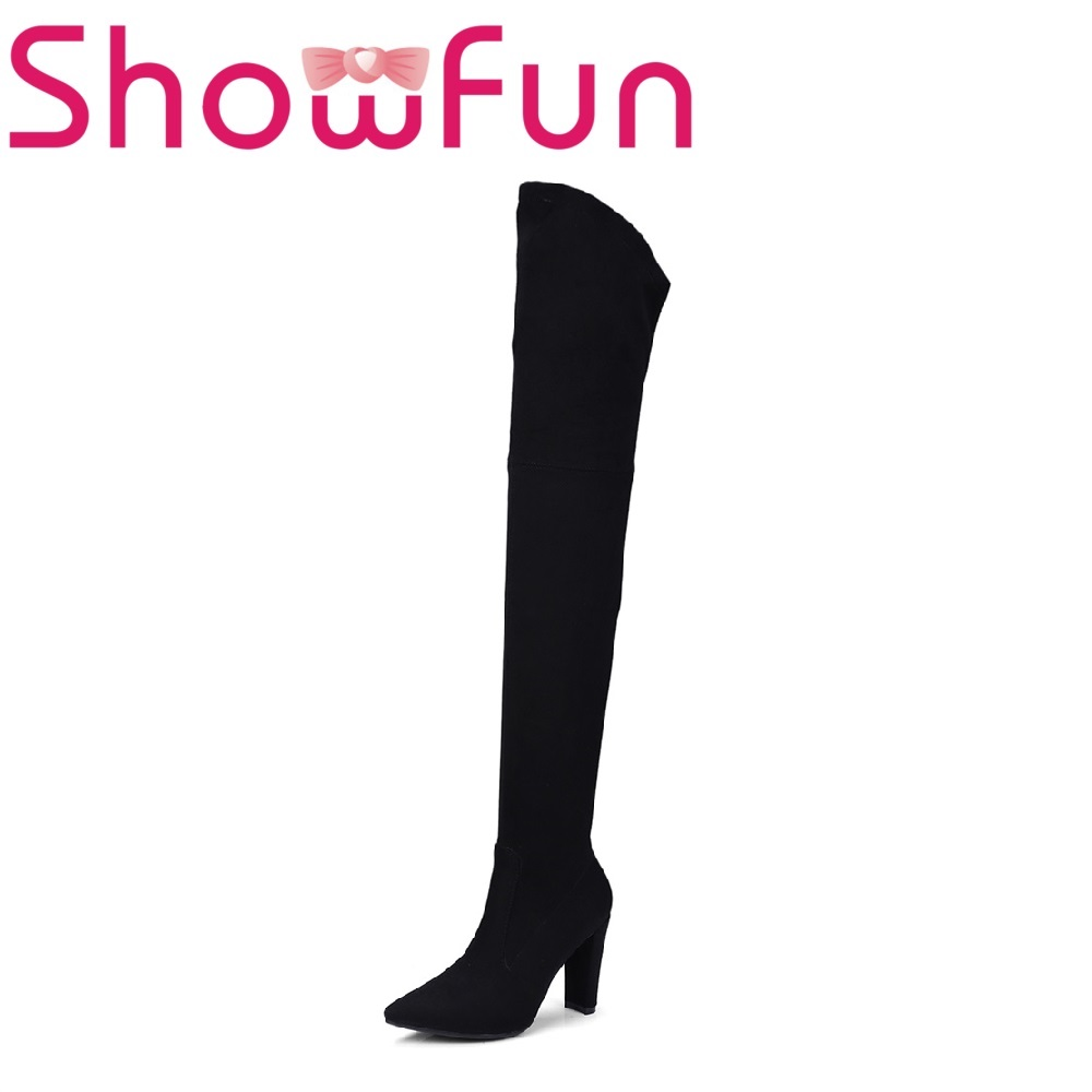 Showfun microfiber shoes woman flock over-the-knee solid pointed toe zipper super high spike heel boots