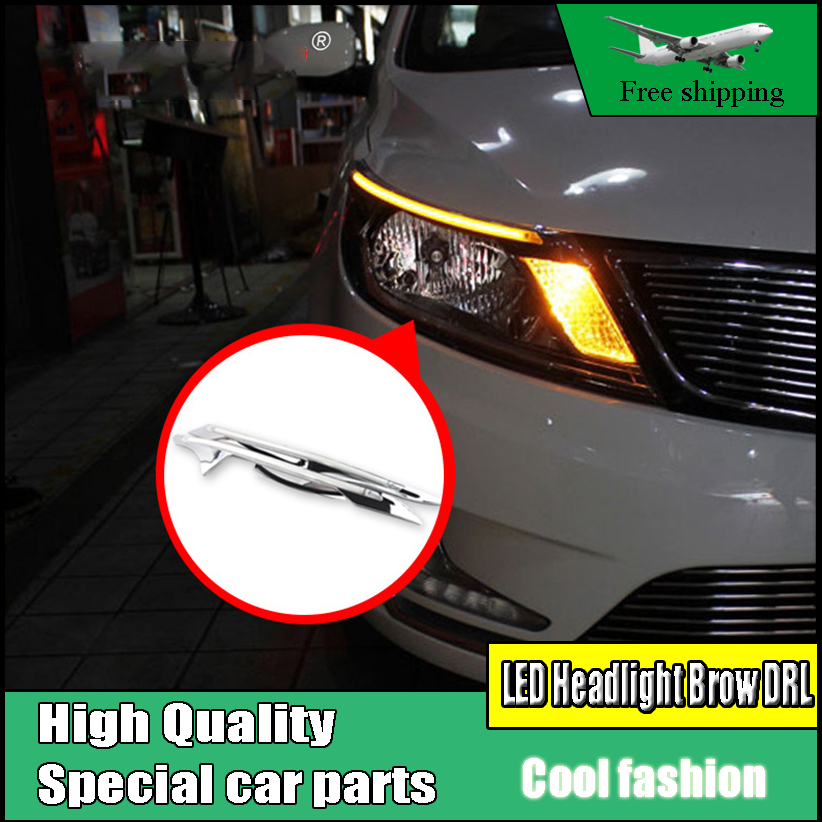 Car Styling LED Headlight Brow Eyebrow Daytime Running Light DRL With Yellow Turn signal Light For KIA Rio K2 Sedan 2011-2014 комплект адаптеров kia rio 2011г sedan