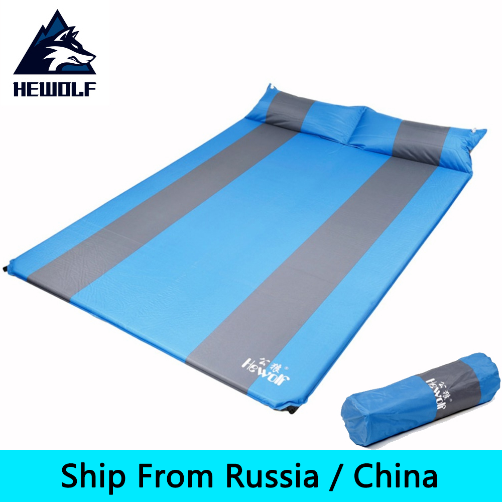Hewolf 2 Persons Automatic Inflatable Air Mattress Cushion Outdoor Hiking Camping Mat Thickening Self-Inflating Sleeping Pad+bag creeper bl q001 convenient outdoor self inflation dampproof dacron air cushion mat camouflage