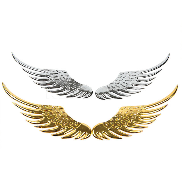 1pair Auto Car Styling 3d Wings Car Sticker Funny Fashion Metal