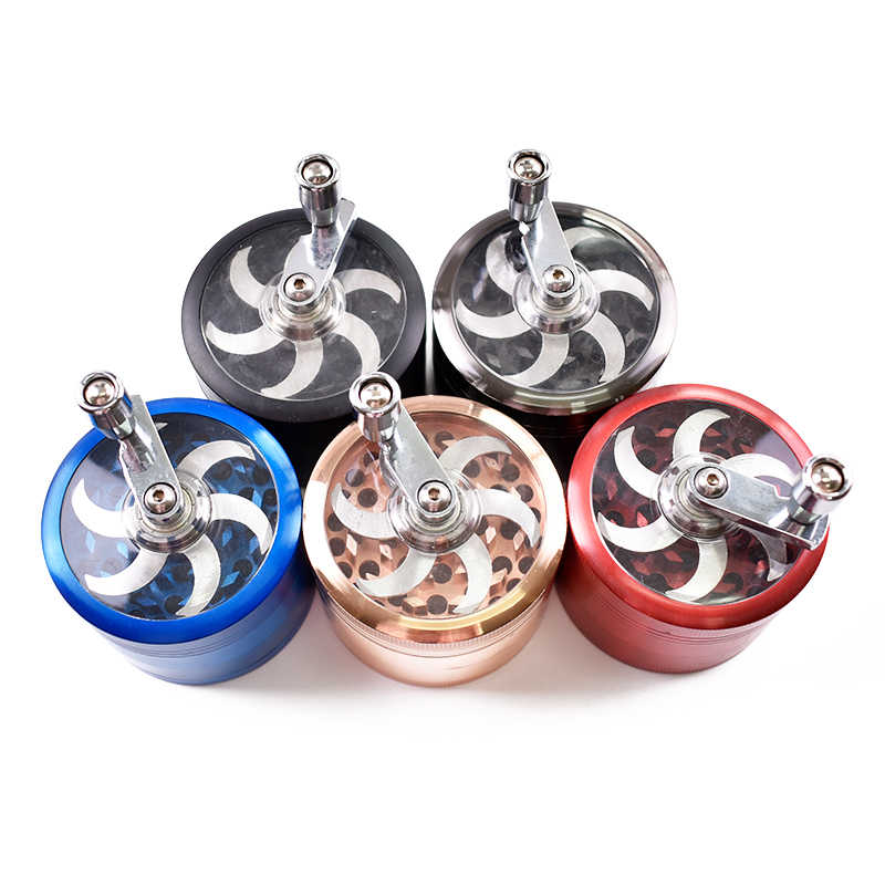 63MM Zinc Alloy Best Spice Grinder Jar Crank Dry Herb Grinder With Bearing Handle weed grinder with Mill Handle Crusher