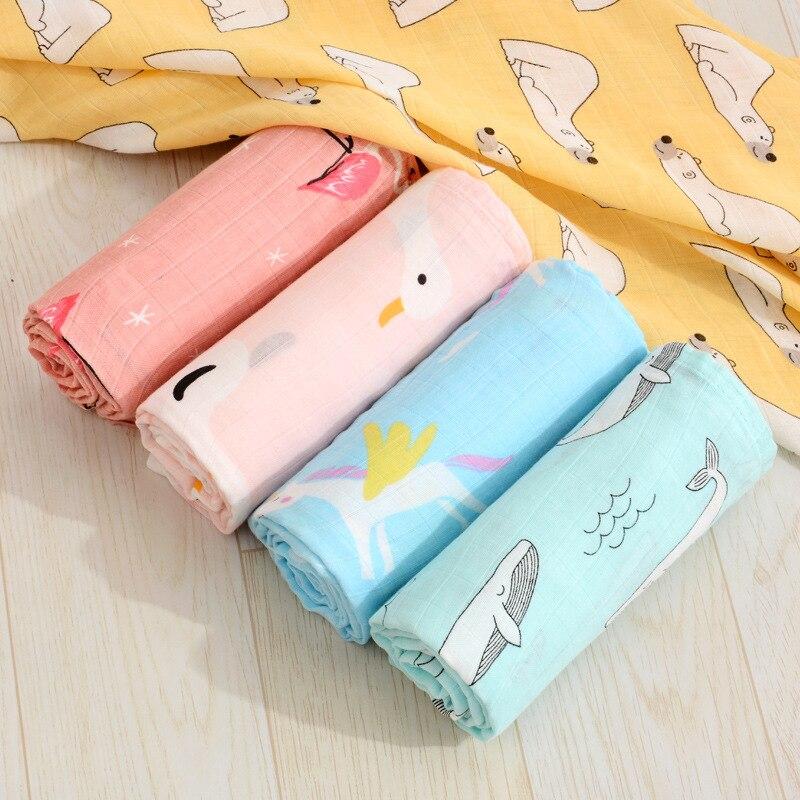 Baby Blanket Breathable Muslin Wrap Newborn Cotton Bamboo Fiber Baby Swaddle Multifunction Muslin Bedding 120*120cm