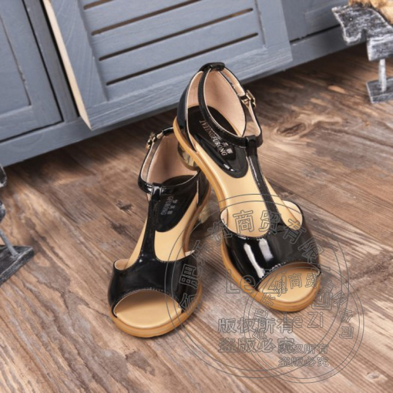 Square Heel Patent Leather Low Cut Uppers China Kitten Heels Full Grain Leather Fish Mouth Shoes