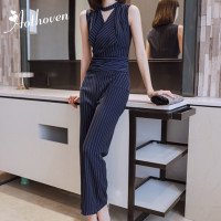 2019 Summer Office Tank Jumpsuits Blue Striped Sleeveless Long Pants Trousers Women Bodysuit Catsuit Overall Playsuits Rompers