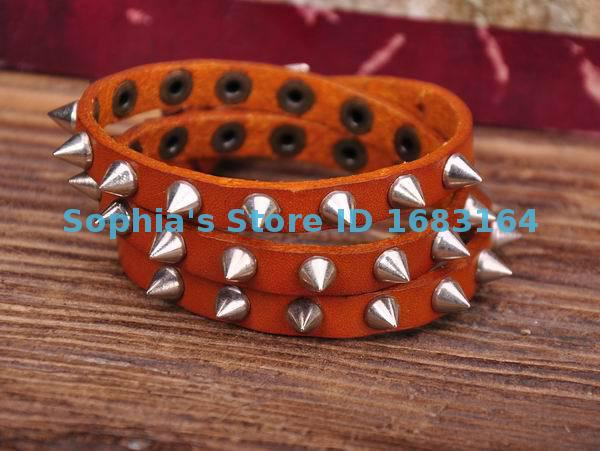 G119 Orange Rock R&B Sharp Studs Triple Wrap Leather Wristband Bracelet Cuff Mens