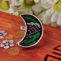 Folk Style Jewelry Creative Personality Fashion Ring Miao Silver Moon Ring