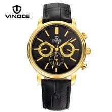 VINOCE Top Luxury Brand Men Military Sport Watches Men's Quartz Clock Male Leather Waterproof Casual Business WristWatch Relogio