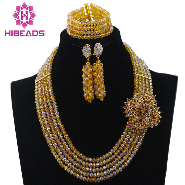 Charms 5 Layers Gold Beads African Jewelry Sets Traditional African