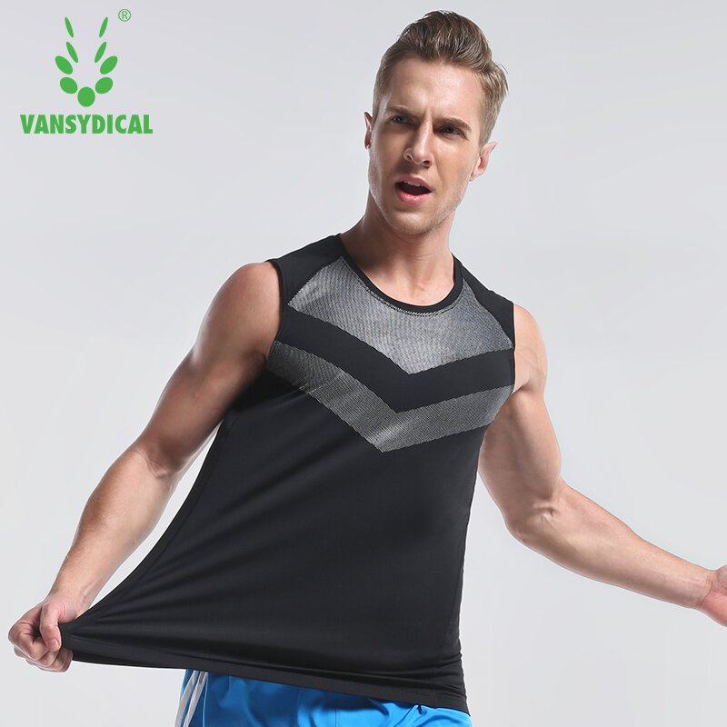 f0f77d3a112825 Vansydical Summer Running Vests Men s Printed Quick Dry Sleeveless Sports  Shirts Basketball Training Gym Clothes Tank Tops