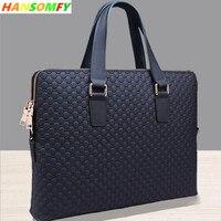 6899996a6ee New Leather Men Handbag Business Briefcase Cross Section Shoulder Diagonal  Blue Black Leather Male 14 Laptop