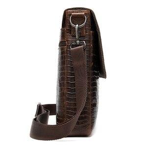 Image 4 - Westalメッセンジャーバッグ男性のショルダーバッグワニのパターンのハンドバッグ男性のレザークロスボディバッグ本革フラップジッパーバッグ