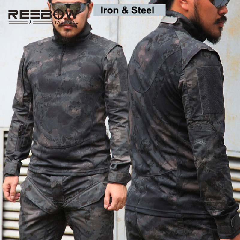 REEBOW TACTICAL Men Military Outdoor Tactical Shirts Bionic Camouflage Summer Autumn Shirt Urban SWAT Police Training Shooting men military tactical outdoor shirts 100% cotton breathable long sleeve shirt army multi pockets swat shooting urban sports