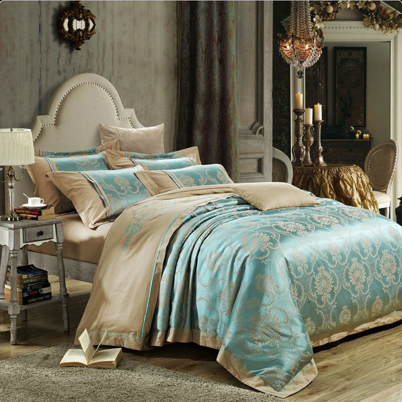 2015 new jacquard satin silk bedding set luxury 4pcs - Fundas nordicas jacquard ...