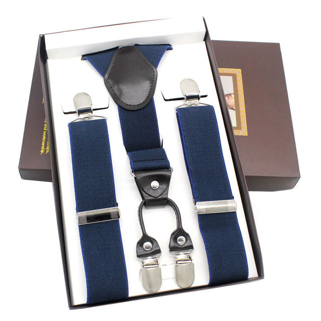 Brown Leather Y-Back Striped Navy Blue Suspender Women's strap trousers 4Clips Party Braces 3.5cm*120cm Gift Box MBD8422