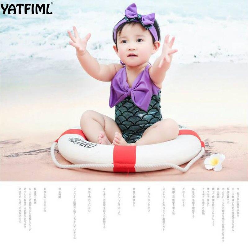 Yatfiml 2018 New 2Pcs Newborn Girls Swimming Clothes Set Childrens Fish Scales Swimwear Girls -8240