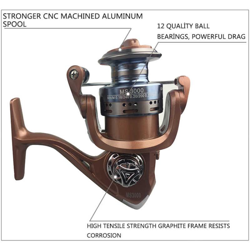 Yumoshi 5.5:1 12 + 1BB Kogellagers Metalen Spinning Reel Fishing Zout Water Tool Aluminium Spool Feeder Vissen Rollen Shimano Olta