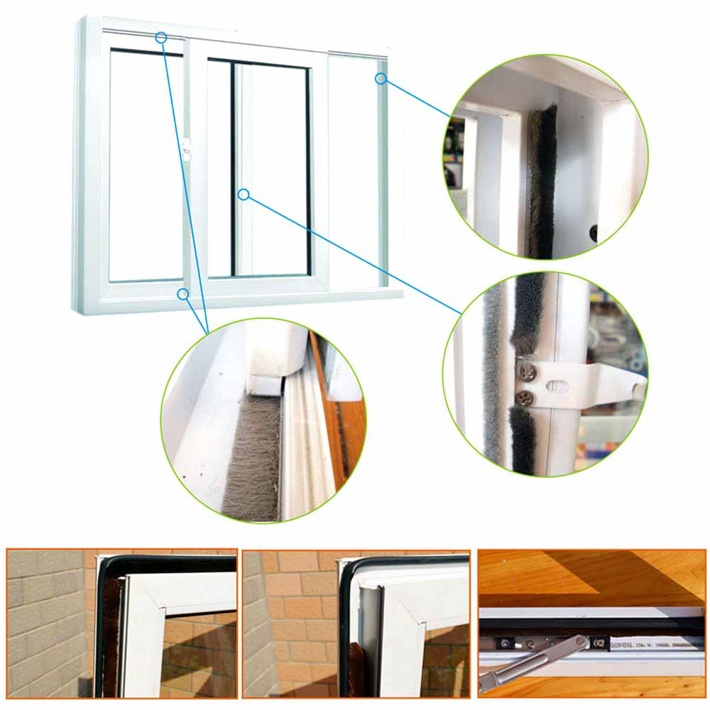 5m Self Adhesive Weather Strip Window Frame door Draught Excluder Brush Pile Seals 5m self adhesive seal strip door draught excluder window pile seal film weather strip for door brush seal sealing strip 3 sizes