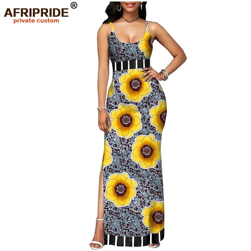 2019 spring african dress for women AFRIPRIDE tailor made bazin richi sleeveless ankle length side split