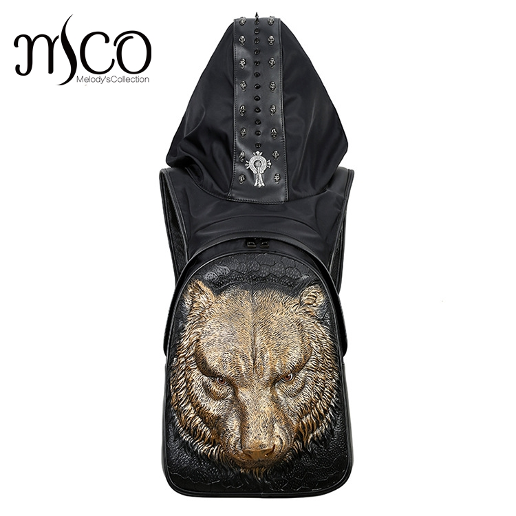 Fashion Personality Tiger head Embossing knife leather backpack rivets backpack with Hood cap apparel bag cross bags hiphop man image