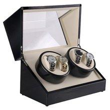 Новые роскошные часы виндеры США вилка 4 слота деревянные часы шкатулка для часов намотка коробка лак поворот слайент двигатель дисплей часы коробка