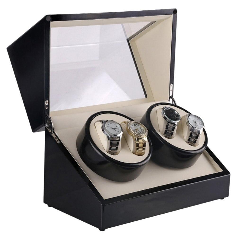 New Luxury Watch Winders US Plug 4 Slots Wood Clock Casket Watch Winder Box Lacquer Rotate Slient Motor Display Clock Box | Fotoflaco.net