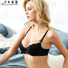 shaonvmeiwu Sexy lace lady bra ultra-thin cup spongeless big breasts show small summer