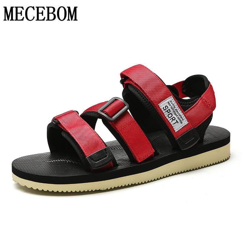 Hommes d190m Chaussures Des 39 New Pour Black Et Red Casual De La D190m Sandales Noir Rouge Taille Summer Crochet Toile Boucle 44 Plage Mâles 354ALRj