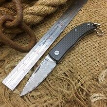 Mini Damascus Folding Knife Carbon Fiber Handle Keychain Knives Multi Outdoor Camping Survival Pocket Fruit Knife EDC Tool