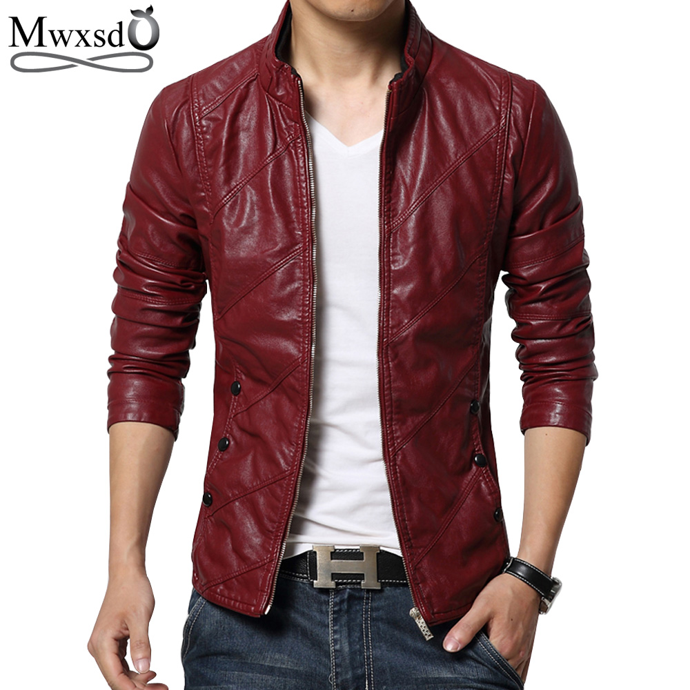 Mwxsd Brand 2019 New Men's Fashion Motorcycle PU Faux Leather Jacket Men Casual Soft Biker Leather Coat Slim  M-5XL