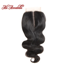 ALI ANNABELLE HAIR Middle Part Brazilian Body Wave Lace Closure 4*4 Brazilian Remy Human Hair Swiss Lace 120% Density