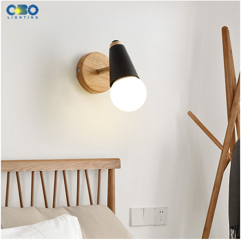 Modern Macaron Wall Lamp Iron Wood Mirror Light Bedside Bedroom Indoor Lighting E27 Light Bulb Retro  LED Wall Light Nordic 4