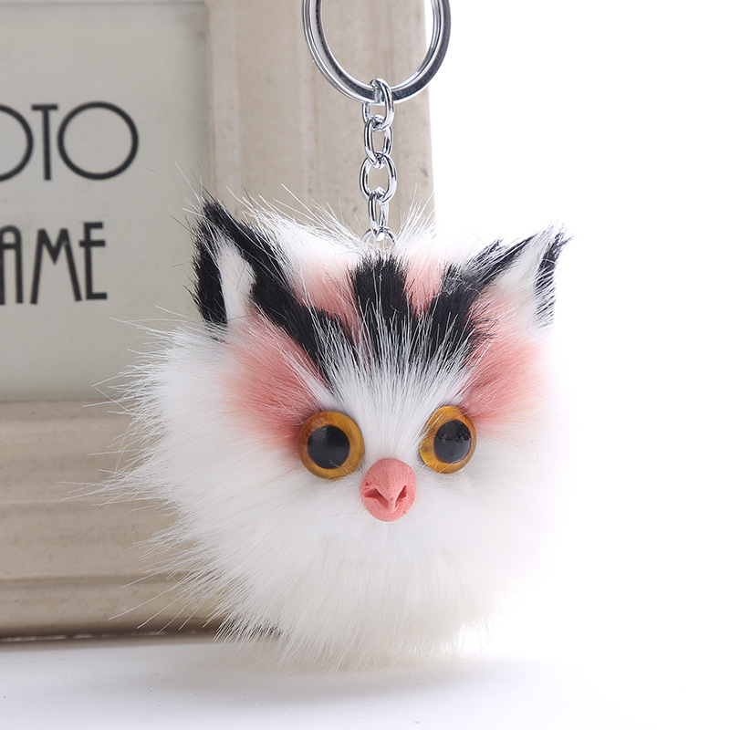 5colors Women Fluffy Keychains Kitten Cat <font><b>Key</b></font> Chain For Girls <font><b>Pompom</b></font> Fur Car <font><b>Key</b></font> <font><b>Ring</b></font> Purse Pendant Pom Keyrings Jewelry image