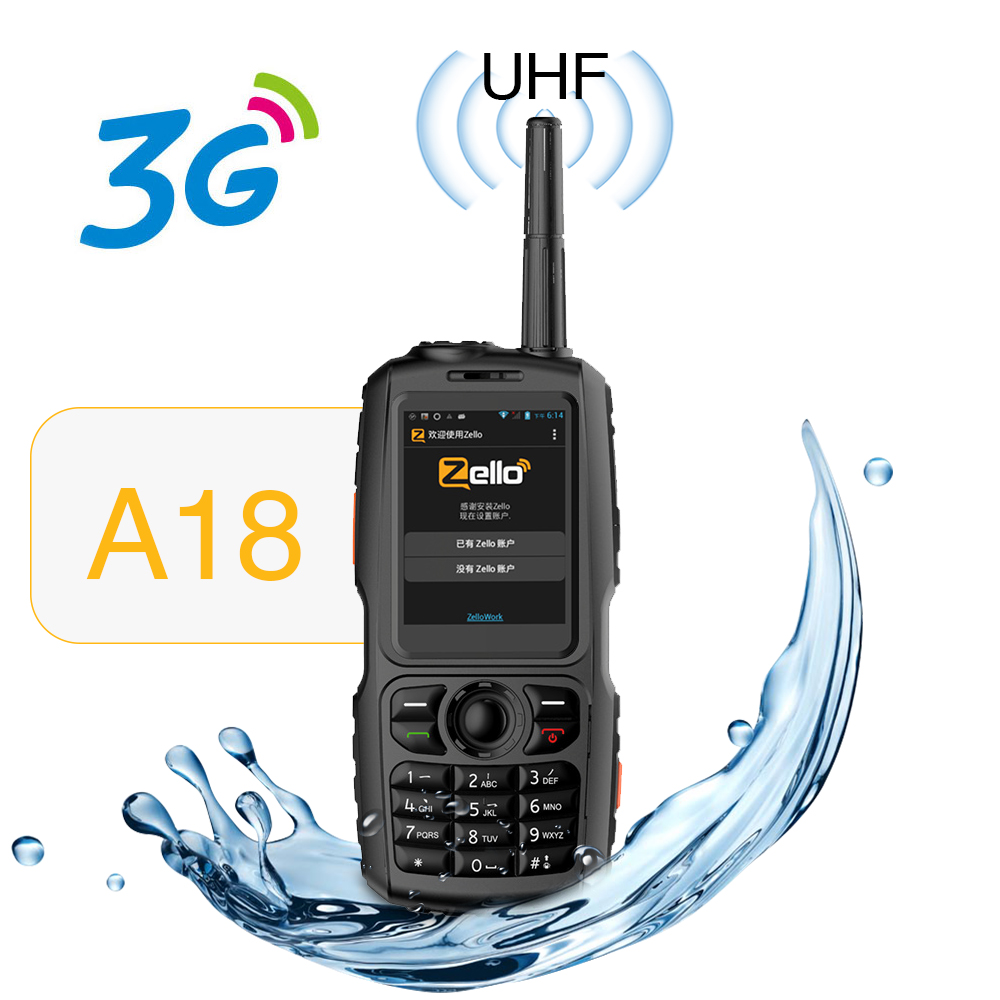 A18 Walkie Talkie With UHF 3800mah IP68 Waterproof Smart Phone Android4.2.2 Dual SIM Smart Radio GPS Zello 3G WCDMA Mobile Phone