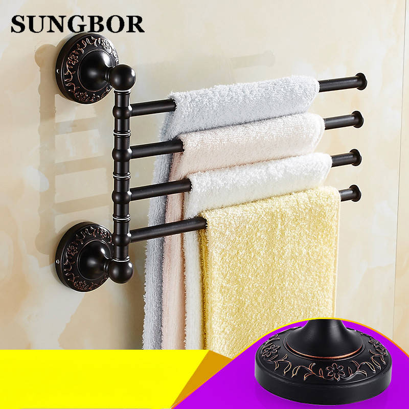 ФОТО Solid Brass Vintage Style Bathroom Revolve Towel Bar Antique black three Four Tiers Bath Towel Holder Rack Wall Mounted