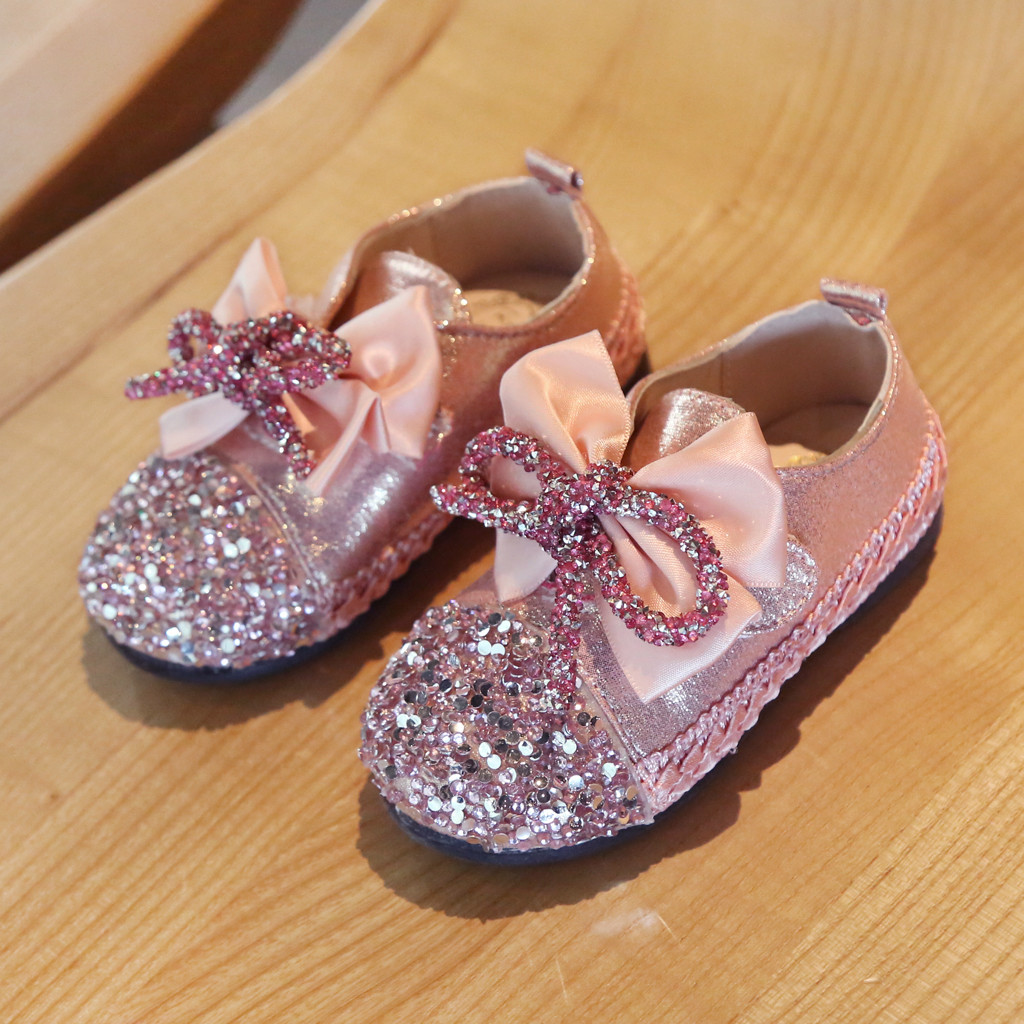 chaussure princesse shoes Toddler Infant Kids Baby Girls Crystal Bling Bowknot Princess Shoes Loafers dapatos infantil menina(China)