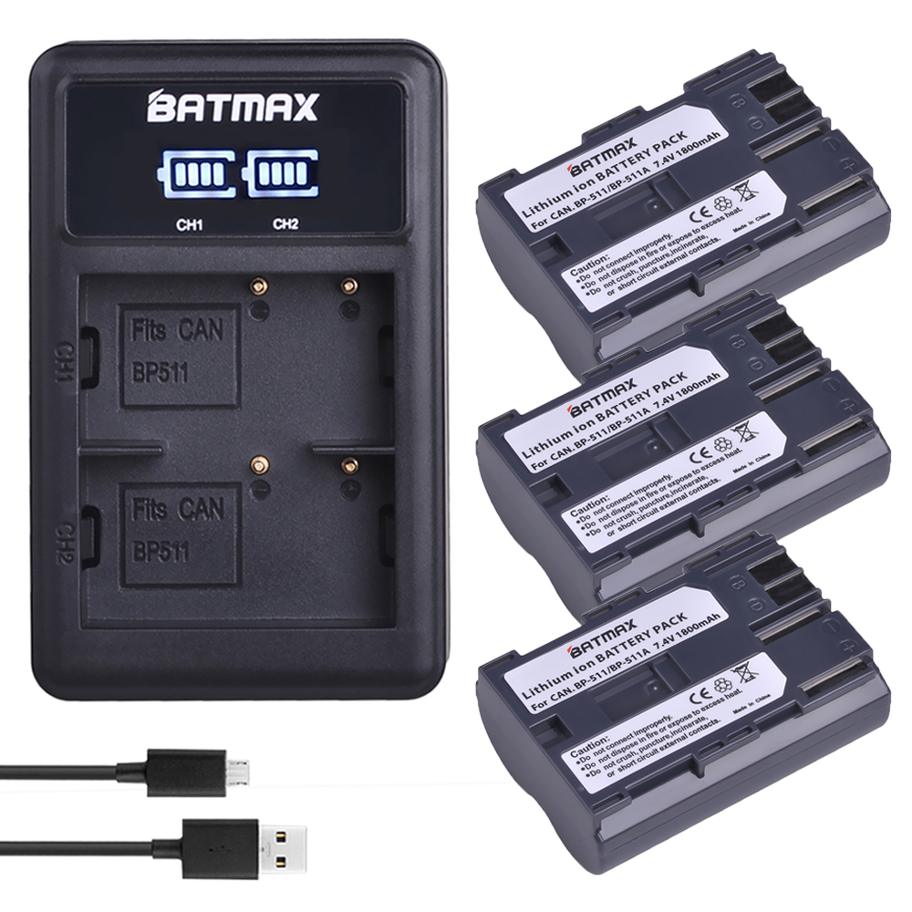 3 шт. BP 511 BP 511 BP511 BP511A BP 511A батарея для камеры + светодиодное двойное зарядное устройство USB для камер Canon EOS 40D 300D 5D 20D 30D 50D